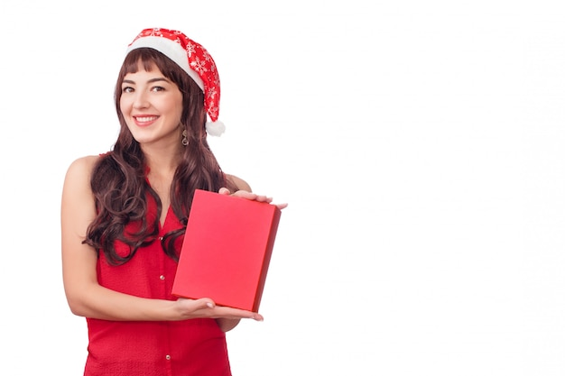Vrouw in de doos van de holdingskerstmis van de santahoed