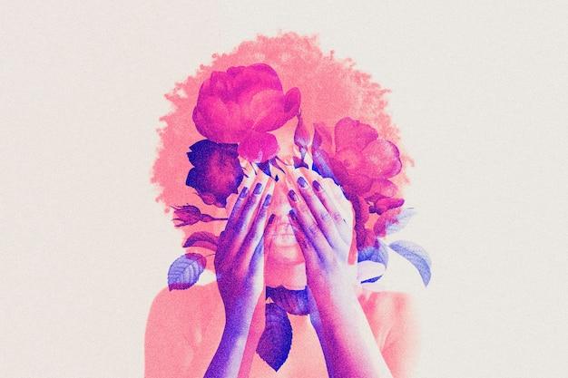 Vrouw in dubbele kleurenbelichting geremixte media