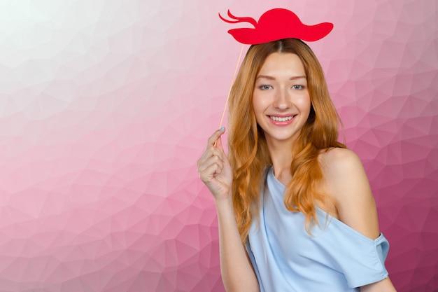 Vrouw in een photo booth-feest