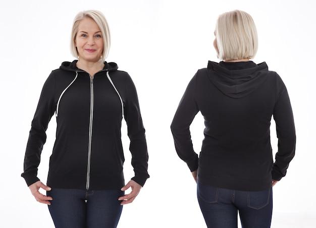 Vrouw in hoodie voor- en achtermodel