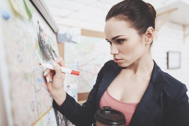Vrouw in jas zet foto's merken met marker op kaart.