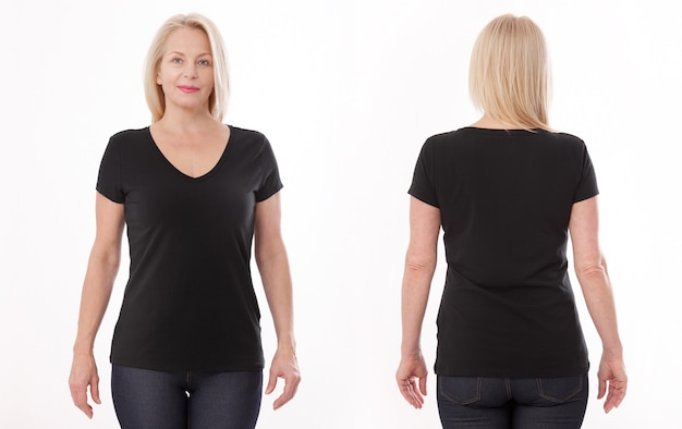 Vrouw in lege zwarte t-shirt voor- en achterzijde geïsoleerd.