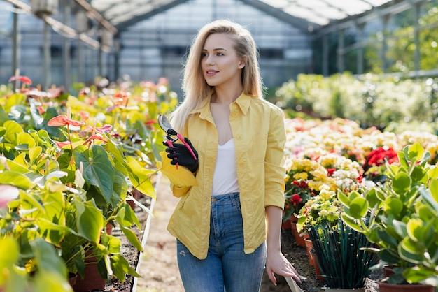 Vrouw in serre met het tuinieren schaar