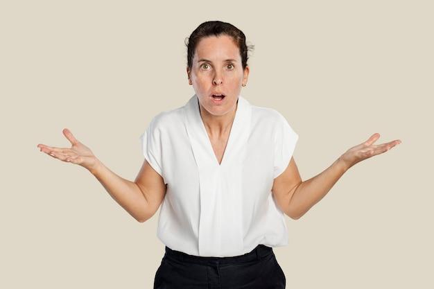 Vrouw in shock gezichtsuitdrukking