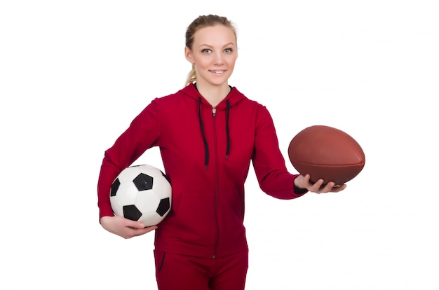 Vrouw in sportenconcept op wit wordt geïsoleerd dat