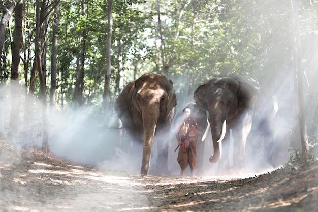 Vrouw in traditioneel kostuum en olifanten in het bos