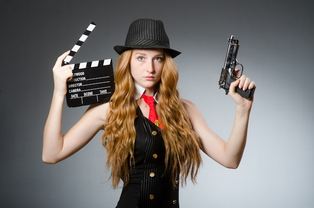 Vrouw in vintage foto concept