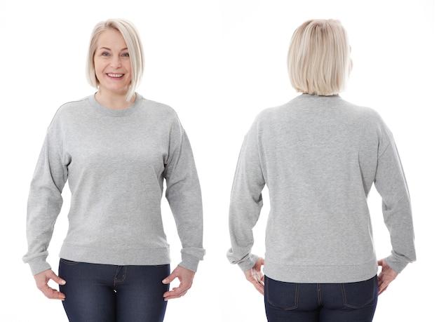 Vrouw in wit sweatshirt voor- en achtermodel