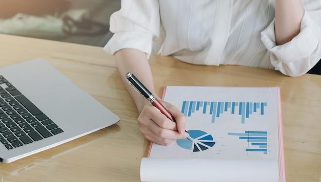 Vrouw investeringsadviseur analyseren bedrijf jaarlijks financieel verslag balansverklaring werken met documenten grafieken.