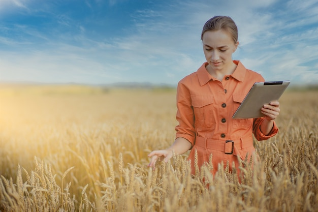 Vrouw kaukasische technoloog landbouwingenieur met tabletcomputer op het gebied van tarwe