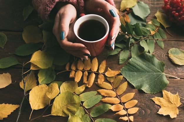 Vrouw krijgt warmte met koffie of thee op de herfstmuur. vallen gezelligheid. ziektepreventie