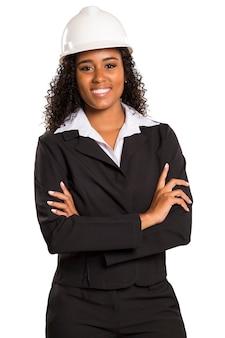 Vrouw lachende architect met gekruiste armen