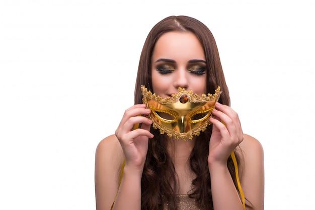 Vrouw met carnaval-masker op wit wordt geïsoleerd dat