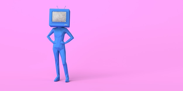 Vrouw met een oude televisie in plaats van hoofd 3d illustratie ruimte kopiëren