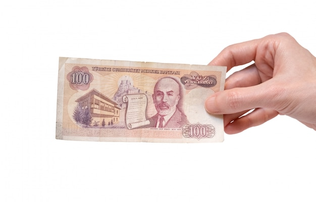 Vrouw met een rekening van 100 turkse lira van de 7e emissiegroep uit 1970