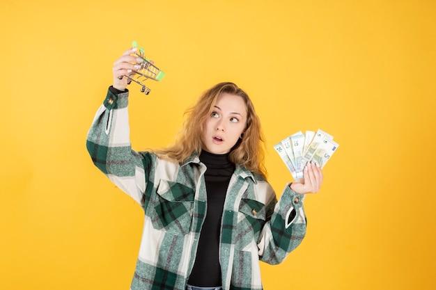 Vrouw met geld en winkelwagentje, online shopping concept