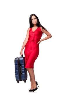 Vrouw met koffer op witte achtergrond wordt geïsoleerd die