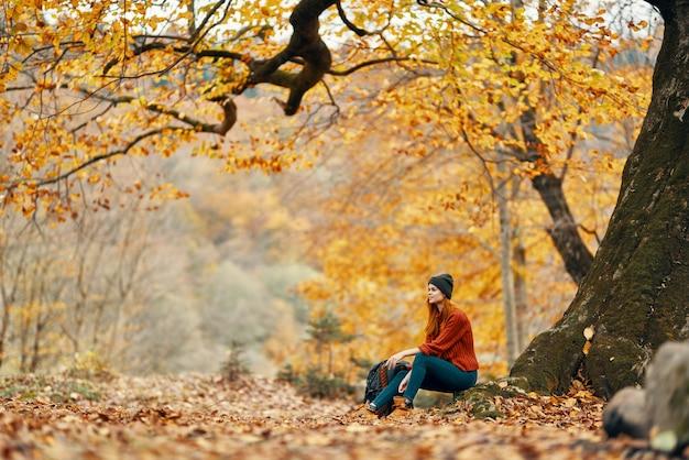 Vrouw met rugzak in de herfstboszitting dichtbij de frisse luchtpark van het boomlandschap