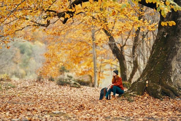 Vrouw met rugzak in het park en gevallen bladeren landschap lange grote boom herfst