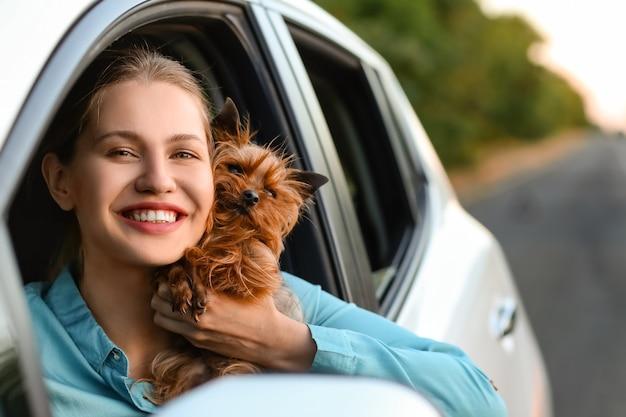 Vrouw met schattige hond in moderne auto