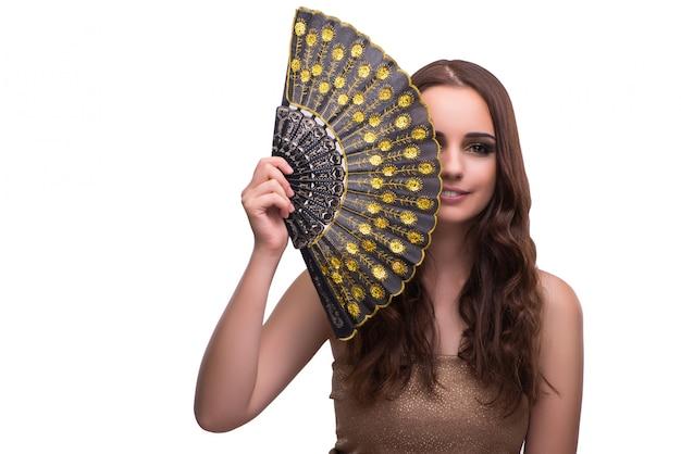 Vrouw met ventilator op wit wordt geïsoleerd dat