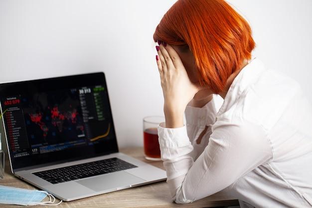Vrouw met verdriet kijken naar de kaart van de verspreiding van de coronaviruswereld