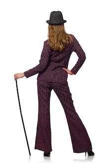 Vrouw met wandelstok op het wit wordt geïsoleerd dat