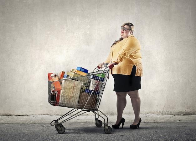 Vrouw met winkelwagen