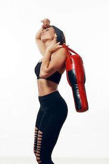 Vrouw mooie lichaam atleet, opgeblazen lichaam