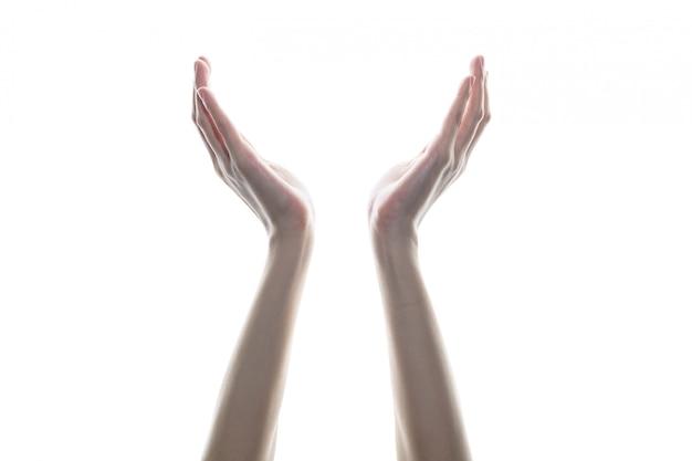 Vrouw open lege handen, handen van gebed