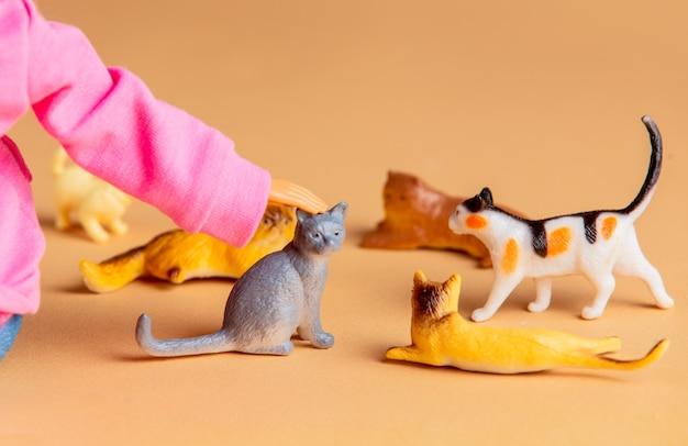 Vrouw pop hand kleine kat aaien