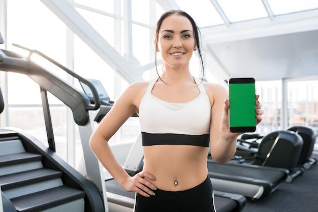 Vrouw presenteren training app