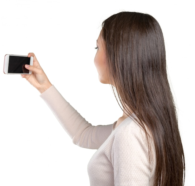 Vrouw selfie maken met haar smartphone