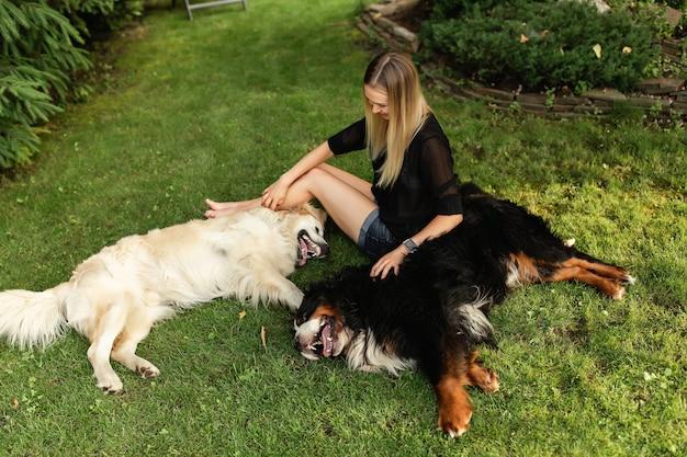Vrouw spelen met hond labrador en sennenhund buiten in groen park. vriendschap van mensen en dieren
