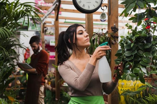 Vrouw spuiten planten