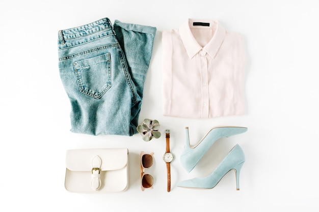 Vrouw trendy mode kleding collage op wit