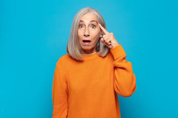 Vrouw van middelbare leeftijd die er verbaasd uitziet
