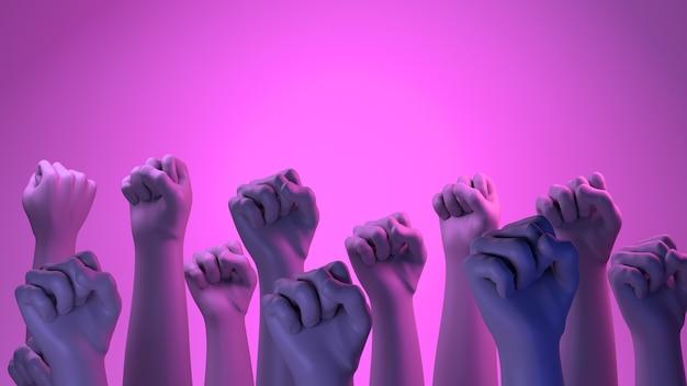 Vrouw vuisten in strijd internationale dag voor de uitbanning van geweld tegen vrouwen 3d render