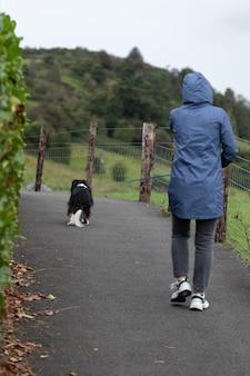 Vrouw wandelende hond aan de lijn in het park