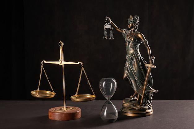 Vrouwe justitia of themis of justilia (godin van justitie) op zwarte achtergrond
