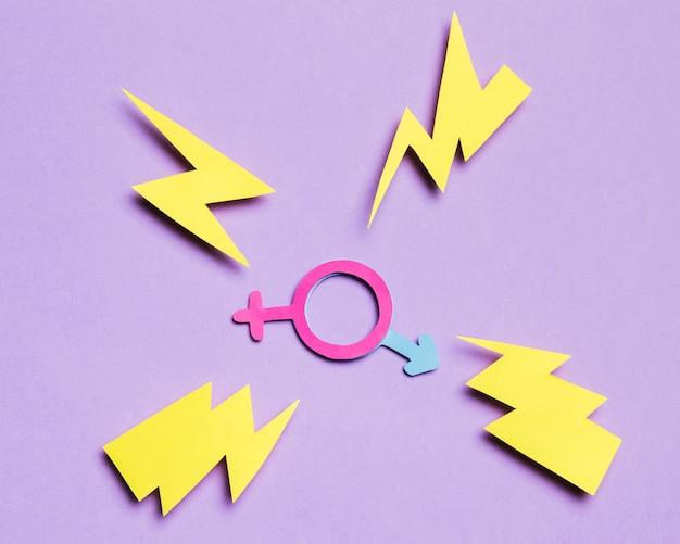 Vrouwelijk geslachtsteken en mannelijk verborgen bord met donderslagen