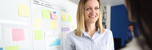 Vrouwelijke bedrijfscoach leidt marketingtrainingsseminar