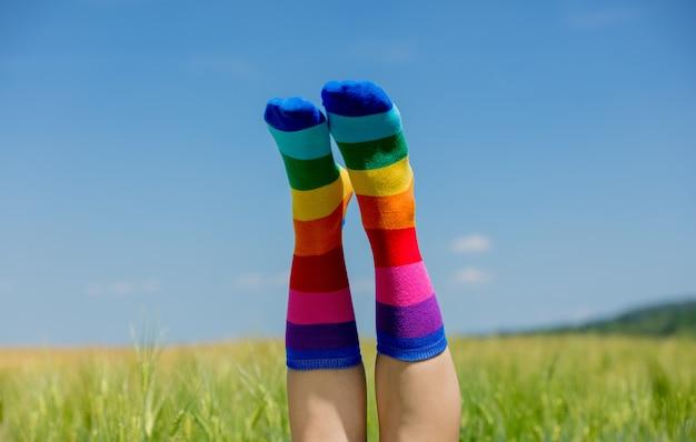 Vrouwelijke benen in lgbt-sokken die op een tarweveld worden opgeheven