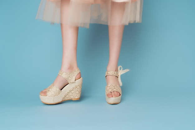 Vrouwelijke benen in schoenen jurk poseren mode blauwe achtergrond