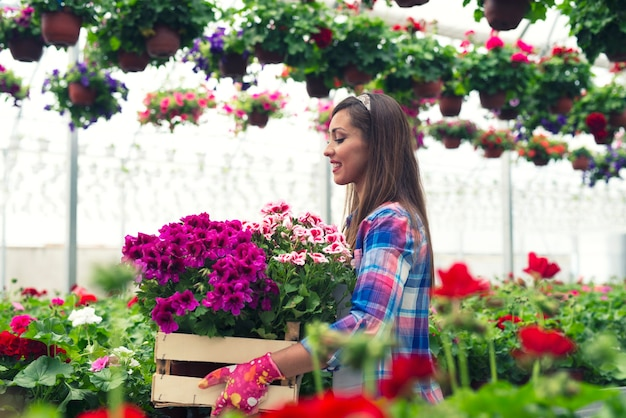 Vrouwelijke bloemist die in het tuincentrum van de serre werkt