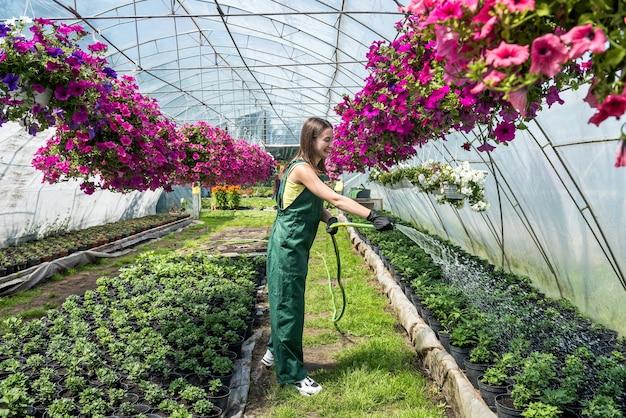 Vrouwelijke bloemist drenken verschillende bloemen in kas