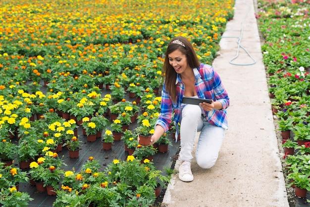 Vrouwelijke bloemist versheid van potplanten in tuincentrum controleren