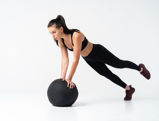 Vrouwelijke bodybuilder dragen klaar voor training