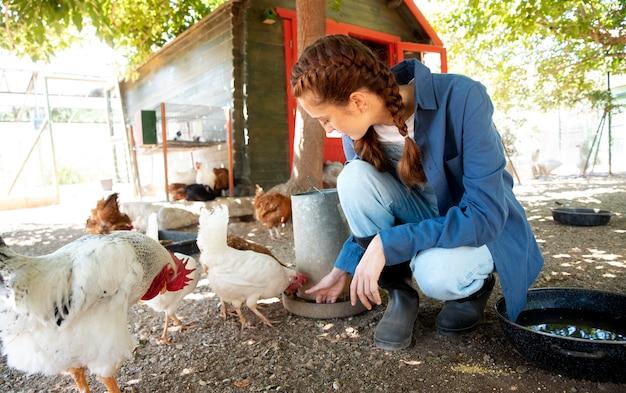 Vrouwelijke boer die de kippen voert