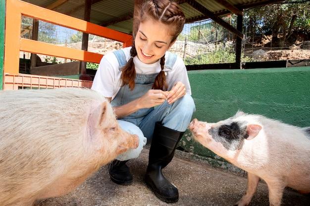 Vrouwelijke boer die de varkens voert